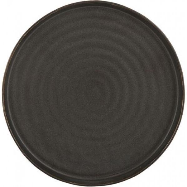 Assiette porcelaine Orbital noire plate Ø 19 cm (x 12)