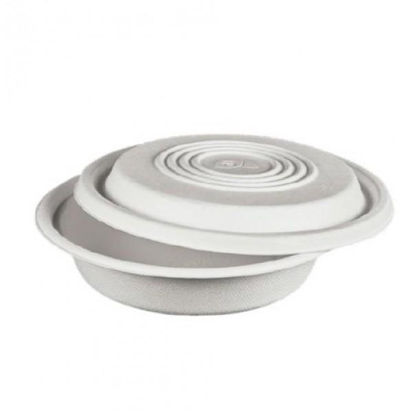 Assiette creuse  90 cl blanche en fibre avec couvercle (x 400)