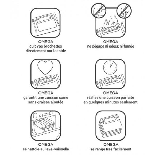 Assiette de cuisson & brochette Omega by Cookal (x 6)