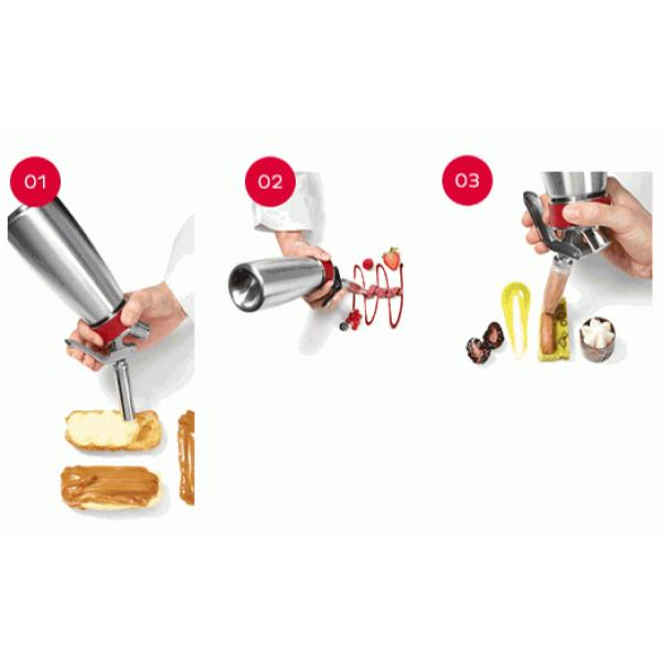 Douille décoration pour siphon Isi : tube, rose, carrée et adaptateur