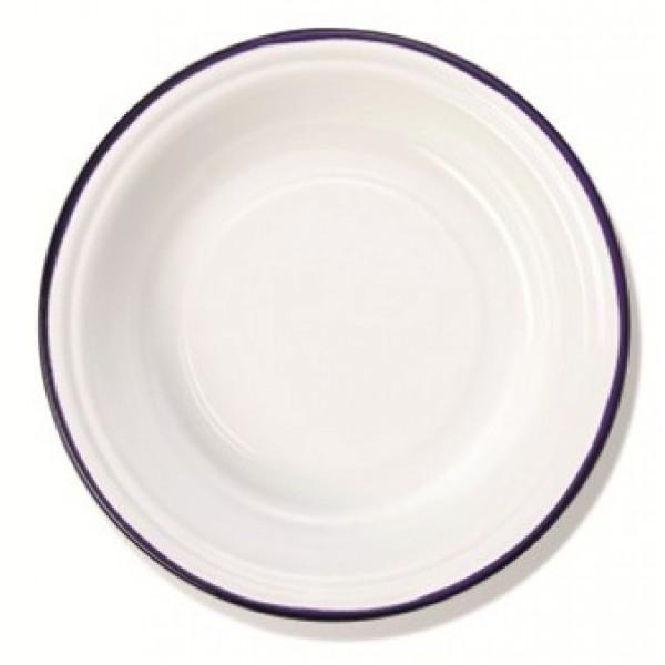 Assiette Rétro en émail blanc bleu creuse Ø 26 cm 100% Chef (x 12)