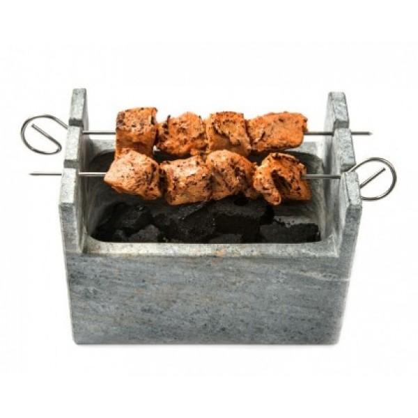 Barbecue en marbre gris 100% Chef et ses 25 brochettes