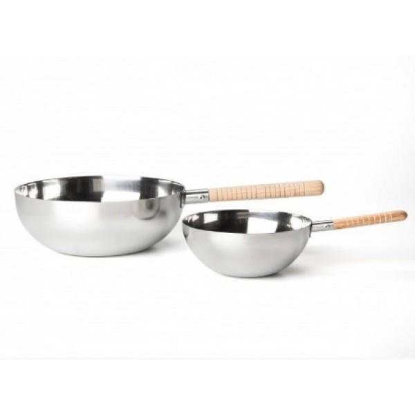 Mini Wok 25 cl en acier inoxydable 100% Chef (X 6)