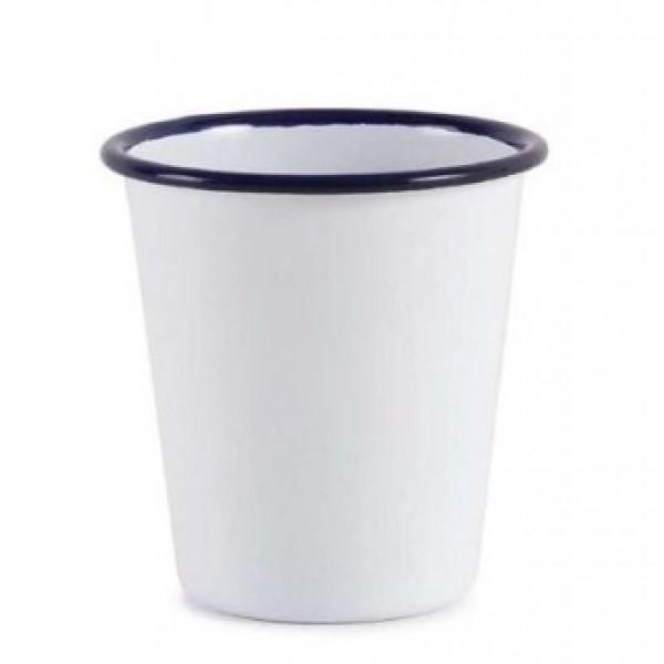 Pot 26 cl à frites, gobelet Rétro en émail blanc bleu Snaak (x 12)