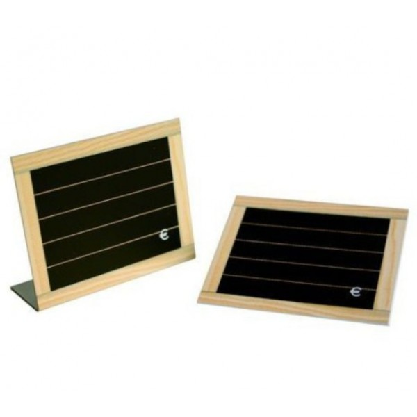 Etiquette chevalet façon ardoise PVC cadre bois x 24 + 1 feutre blanc