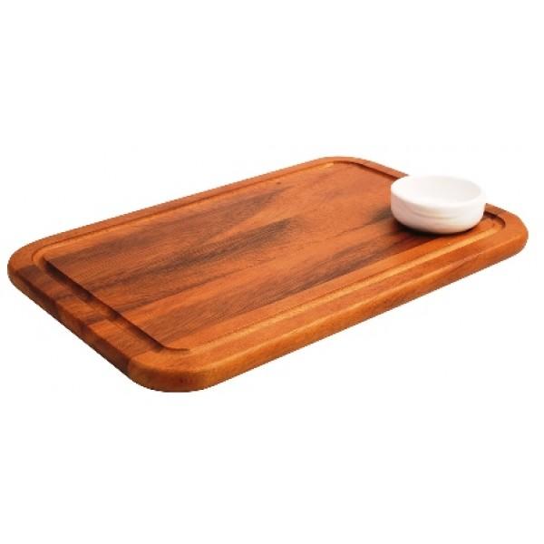 Assiette en bois d'acacia, planche à steak 34 x 22 cm (x 6)
