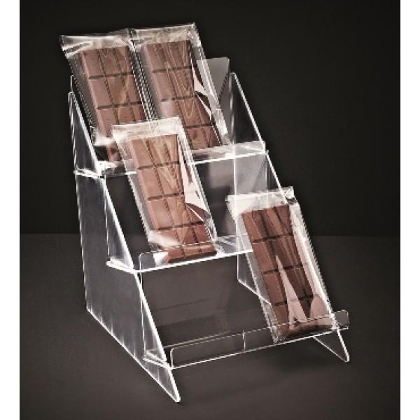 Présentoir à tablettes de chocolat, 3 niveaux