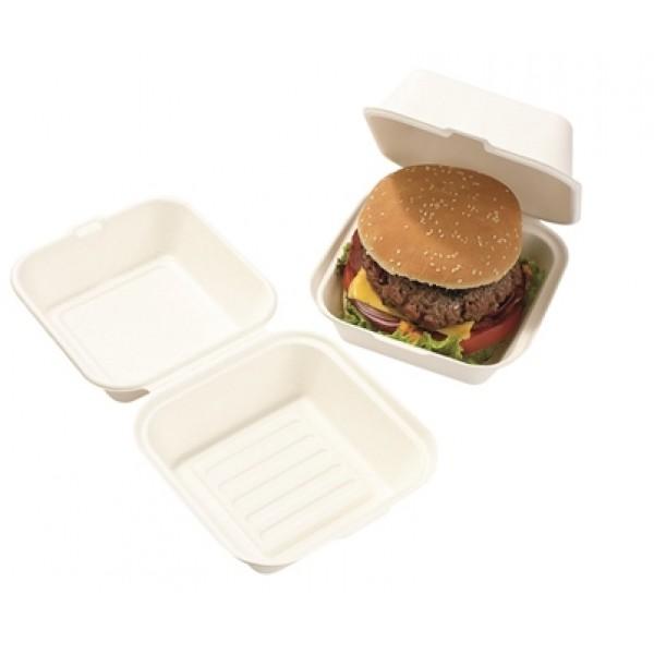 Boite à burger, fibre de canne 15 x 15 cm (x 500)