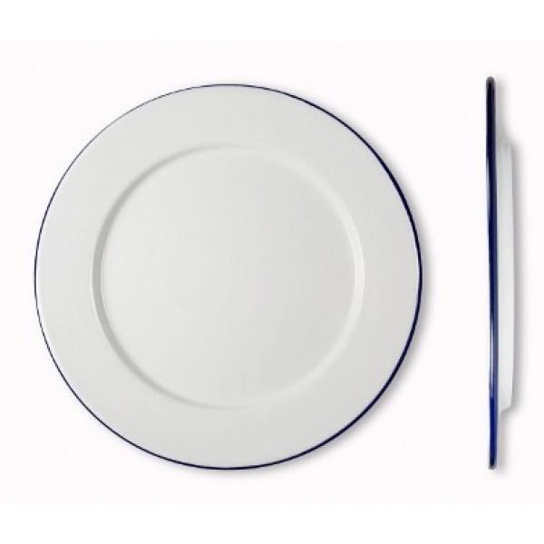 Assiette Rétro en émail blanc bleu plate Ø 20 cm 100% Chef (x 12)