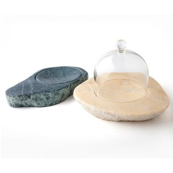 Assiette en pierre 100% Chef Pharaon verte & cloche (x 6 lots)