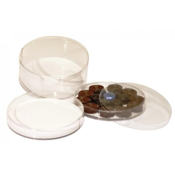 Boite ronde PVC Ø 14 x Ht 2.5 cm fond carton blanc (x 10)