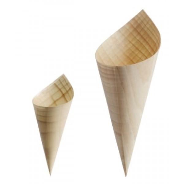 Cône en feuille de bois naturel, Ø 65 Ht 100 mm (x 1000)