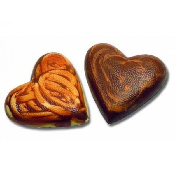 Moule à chocolat, demi coeur granité 2 empreintes 10 x 10 cm