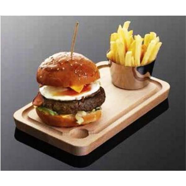 Assiette en bois de hêtre huilé, planche 23 x 15 cm (x 6)