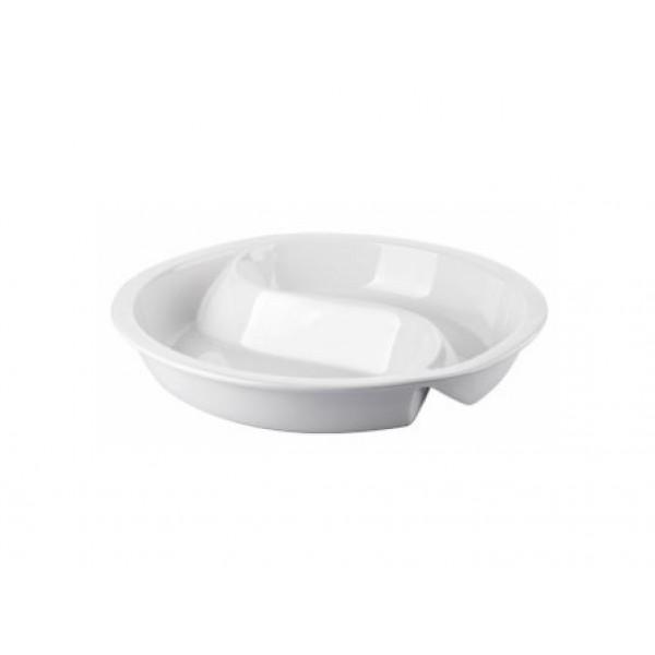 Plat en porcelaine 2 x 180 cl, pour Chafing dish rond