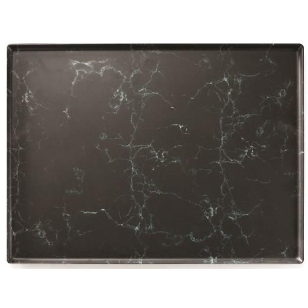 Plat rectangulaire marbré en mélamine 30 x 40 cm (x 1)