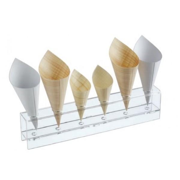 Présentoir à tubes à essai 13 ou 19 ml & cônes,  6 trous 25 mm