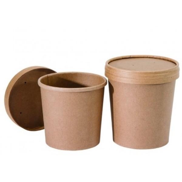 Pot rond Nature en carton brun 35 cl & couvercle (x 500)