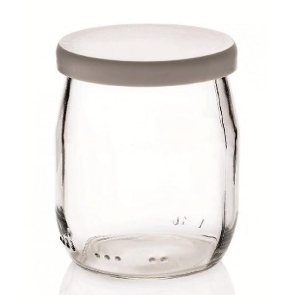 Pot 14.3 cl à yaourt, en verre + couvercle (x  96)