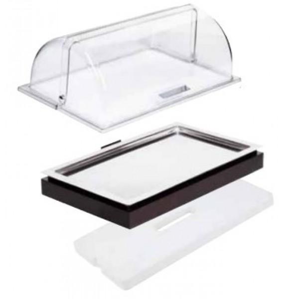 Présentoir réfrigéré plat inox, couvercle & plaque eutectique