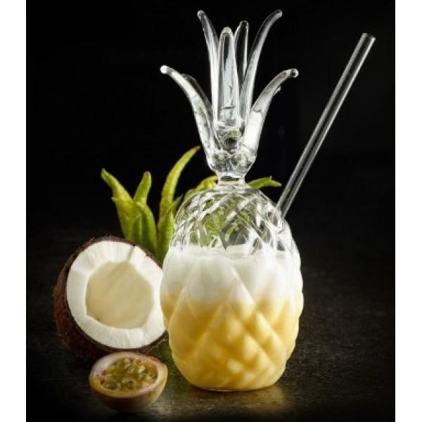 Verre en forme d'ananas 30 cl + paille 100 % Chef (x 6)
