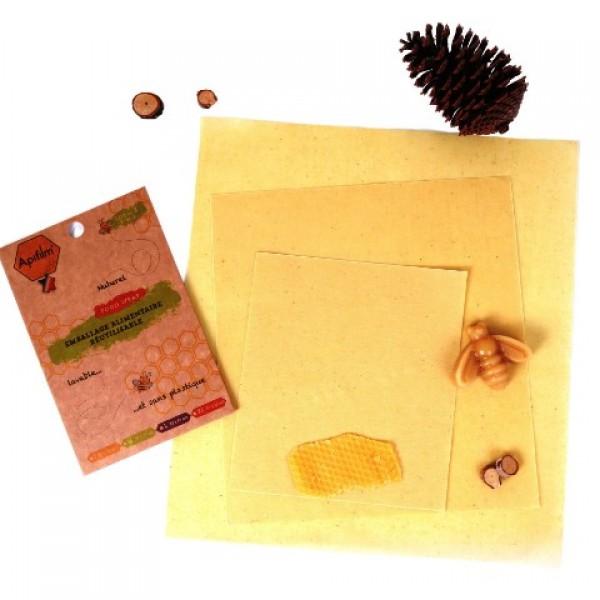 ApiFilm, emballage alimentaire naturel (Lot de 3 tissus S, M, L)