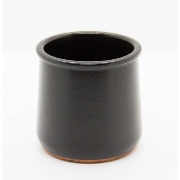 Pot 15 cl en céramique noire Terra + couvercle en PP (x  40)